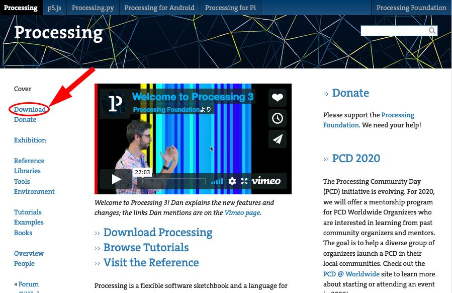 Processing.org のトップページ